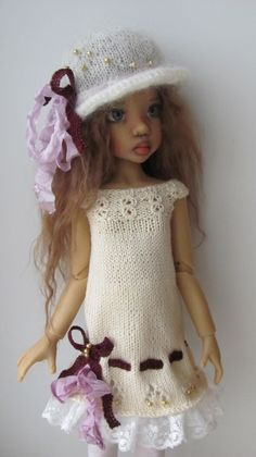 "Hand Knit Doll Outfit Set for 18"" Kaye Wiggs Nyssa BJD Miki 