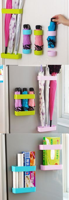 2Pcs Umbrella Shelves Rain Drainage Rack Self-adhesive Wall Hanging Storage Boxes Organizer