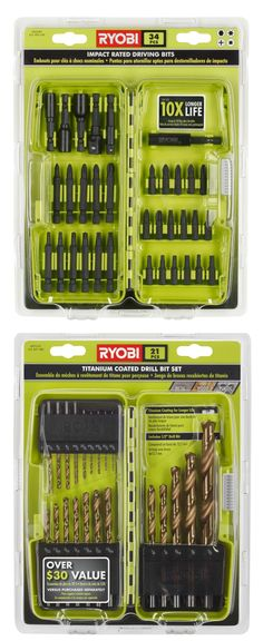 We would be lost without these drill and drive kits! The titanium coated drill bits last so much longer than normal ones, and the drive bits are impact rated to easily take the torque from our impact drivers - lasting 10x longer than non-impact rated bits. Purchase at http://www.homedepot.com/s/ryobi%2520drill%2520and%2520drive%2520kits?NCNI-5