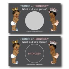 Prince or Princess Gender Reveal Scratch off Cards Scratch Off Cards, Dark Complexion, Custom Candy, Candy Bar Wrappers, Baby Shower Gender Reveal, Baby Shower Games, Light In The Dark, Birthday Cards, How To Plan
