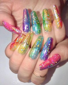 Rainbow glitter nails are the finishing touch that you need to be a true fashionista at pride this year. Here are some amazing rainbow glitter nails for pride that you need to try! Best Acrylic Nails, Acrylic Nail Designs, Nail Art Designs, Cute Nails, Pretty Nails, My Nails, Jelly Nails, Wedding Nails Design, Rainbow Nails