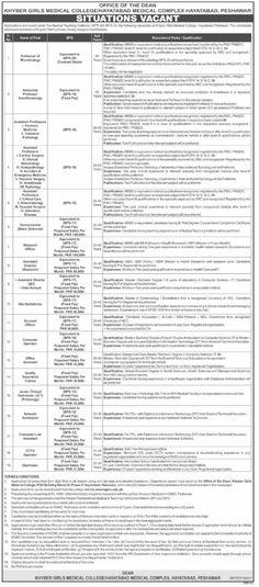Khyber Girls Medical College Hayatabad Complex Peshawar Jobs 2021
