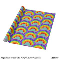 Shop Bright Rainbow Colourful Party Children Happy Wrapping Paper created by ONME_Prints. Gift Wrapping Paper, Custom Wrapping Paper, Happy Birthday Rainbow, Rainbow Paper, Rainbow Painting, Unique Bags, Colorful Party, Felt Hearts, Japanese Culture