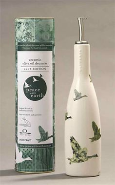 Hip Products: Peace With Earth olive oil decanters Olive Oil Brands, Olive Oil Bottles, Product Ideas, Bottle Design, Bottle Labels, Package Design, Decanter, Olives, Beauty Makeup