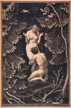 Max Švabinský (Czech, 1873 – In Paradise, 1918 Woodcut, x 65 cm Art And Illustration, Illustrations, John William Waterhouse, Arte Obscura, Adam And Eve, Pics Art, Gods And Goddesses, Book Of Shadows, Erotic Art