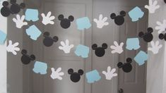 10 pies de ratón de mickey inspiró papel guirnalda bandera decoraciones cumpleaños Club negro blanco luz azul azul de bebé