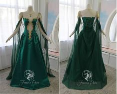Jade Dragon Gown by Firefly-Path on DeviantArt Pretty Outfits, Pretty Dresses, Beautiful Dresses, Cape Tutorial, Ball Dresses, Ball Gowns, Fantasy Gowns, Fairy Dress, Medieval Dress