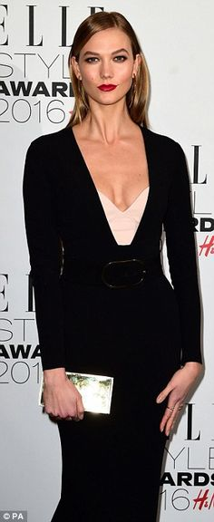 Karlie Kloss creates an hourglass silhouette at ELLE Style Awards 2016  | Daily Mail Online