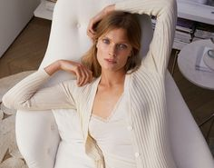 c5fcafefe3c0 Constance Jablonski Lounges in Zara Home s Spring Lingerie Collection