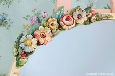 Vintage Home - Close-up of Oval Floral and Ribbon Wall Hanging Barbola Mirror: www.vintage-home.co.uk