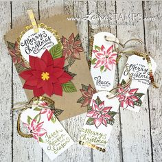 Reason for the Season poinsettia gift bag tags kit from Lovenstamps - supplies Stampin Up