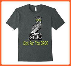 Mens Owl Sunglasses Wait For the Drop Music Funny Neon T-Shirt 3XL Dark Heather - Animal shirts (*Partner-Link)