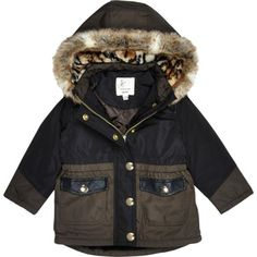 Mini girls black luxe parka coat - tops - mini girls - girls