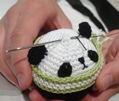 free crochet pattern for making this panda ornament--Next year presents!