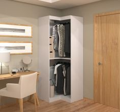 Get the most out of your unused space with the Pur by Bestar 26165 Corner Storage Unit . This contemporary design combines style and convenience to give. Corner Wardrobe Closet, Corner Closet Organizer, Corner Storage Unit, Front Closet, Diy Wardrobe, Cubby Storage, Corner Unit, Wardrobe Design, Closet Storage