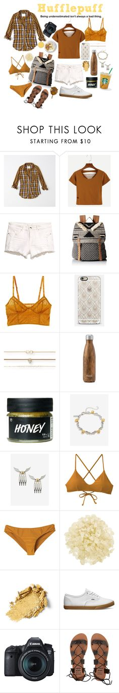 """""""Hufflepuff Summer"""" by prsly ❤ liked on Polyvore featuring Abercrombie & Fitch, WithChic, Roxy, Intimately Free People, Casetify, Aéropostale, West Elm, Warner Bros., RVCA and African Botanics"""