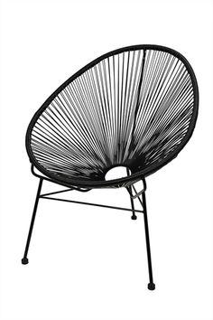 Stringstol, Retro stringfåtölj i plast och stål, svart, 3002236