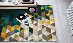 Tappeto a triangoli moderno Illusion Prism Green