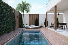 Plano de casa clean - Planos de Casas, Modelos de Casas e Mansiones e Fachadas de Casas Building A Swimming Pool, Small Swimming Pools, Small Backyard Pools, Backyard Pool Designs, Small Pools, Swimming Pools Backyard, Swimming Pool Designs, Pool Landscaping, Patio Design