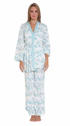 af54f3522e00e Olian Anne Blue Blossom Maternity Nursing Pajama Gift Set w Matching Baby  Outfit
