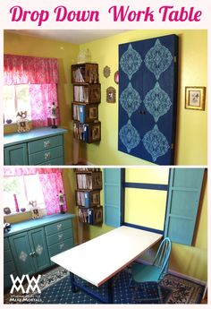 DIY Drop Down Worktable How to make a cool, space-saving drop down table. This folds up neatly against the wall when not in use, plus there's a clever built-in way to hide the legs. Get the free how-to video and fre… Craft Room Storage, Room Organization, Bedroom Storage, Diy Bedroom, Easy Storage, Storage Cubes, Bedroom Small, Trendy Bedroom, Storage Ideas