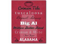 Alabama Crimson Tide Football Subway Art Print Gift Home Decor 8x10
