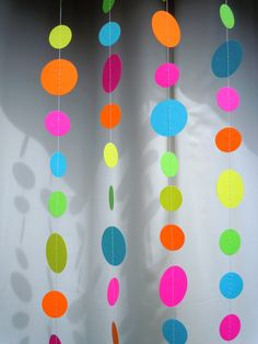 Neon Paper Circle Garland by HookedonArtsNCrafts on Etsy, $10.00
