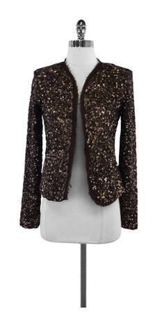 Nicole Miller Brown Sequin Jacket