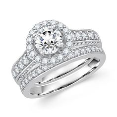 Handcrafted Stunning Halo Bridal Sets - Round Center Engagement Rings in Los Angeles - Metal Type: 14K White Gold - http://www.mybridalring.com/Rings/round-center-diamond-bridal-sets-los-angeles/