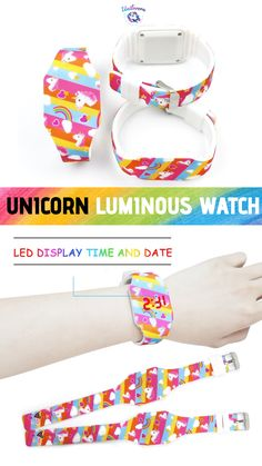 Unicorn lovers will be amazed by this Glowing Unicorn LED Watch. Wearing this wristwatch is so wonderful to experience, as you feel magical unicorn inside you. It glows brightly.  This watch is an LED touch watch, usually in standby mode; you have press the button to see the time, and then return to the standby power saving mode after 5 seconds.