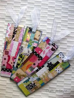scrap paper bookmarks for YW book club night Paper Bookmarks, How To Make Bookmarks, Handmade Bookmarks, Creative Bookmarks, Bookmarks Kids, Corner Bookmarks, Crochet Bookmarks, Paper Tags, Diy Paper