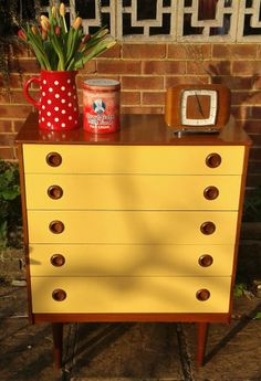 Stylish retro, vintage, upcycled teak chest of drawers  £60.00