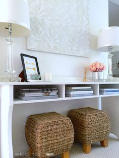 Your home office can be as simple as a side table and stool - small spaces have just as much potential with lighter colors and creative storage solutions.