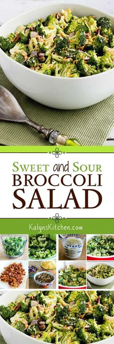 This Sweet and Sour Broccoli Salad is a classic salad recipe, but my version is low-carb, low-glycemic, gluten-free, and delicious! You'll make this broccoli salad over and over for parties and pot-lucks!  [found on KalynsKitchen.com] #BroccoliSalad #SweetandSourBroccoliSalad #LowCarbBroccoliSalad #LowCarbSweetandSourBroccoliSalad