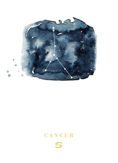 Title: Cancer Zodiac Constellation Watercolour Illustration (Star Sign)  Illustration Info: This is a print from my original watercolour illustration.  Signed and printed on high quality laser print paper, A4 size (210mm x 297mm) with additional white space for easy framing and packaged in a bend proof mailer.  For enquiries on larger/smaller print sizes, custom illustrations or wholesale orders, please send me a message via Etsy.  Thank you for viewing my illustrations.