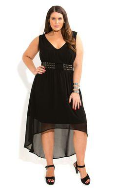 City Chic - STUDDED BELT DRESS - Women's plus size fashion
