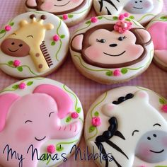 I baby shower cookies. Invitation design by request of mother of the dad-to-be. Sweet!#babyshowercookies #animalcookies #junglecookies