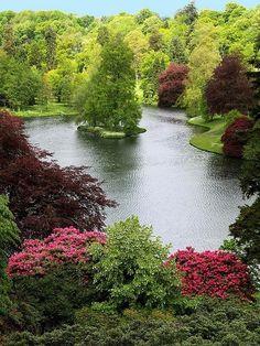 Beautiful Stouhead House Lake, Wiltshire – England