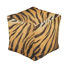 Tiger Fur Stripes premium cube poufs!  Brand new product...choose from large and small.