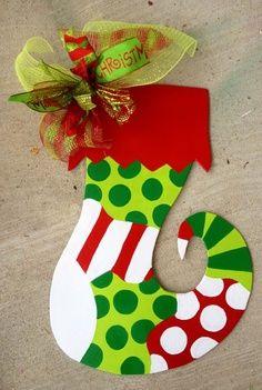 hand+painted+Christmas+door+hangers | Christmas Stocking door hanger stocking wooden door by paintchic, $42 ...