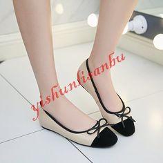 Retro Women Real Leather Bowtie Wedge Heel Comfy Flats Shoes Ballet Flats Pumps