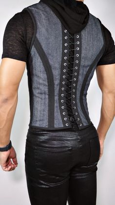 Our Corset Vest is made to order. This luxurious piece is designed for the stylish, fashionable, bold people and for those who are not afraid to draw attention. Mens Fashion Suits, Mens Suits, Fashion Outfits, New Fashion For Men, Men's Vest Fashion, Fashion Backpack, Leder Outfits, Look Man, Fashion Videos