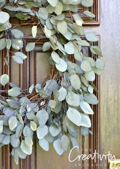 DIY Eucalyptus front door wreath. The Creativity Exchange