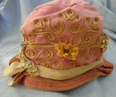Antique Cloche Hat Style Queen Pink Braid Flowers Pin 1920 Orginial Flapper. @designerwallace