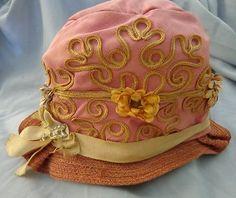 Antique Cloche Hat Style Queen Pink Braid Flowers Pin 1920 Orginial Flapper. @designerwallace