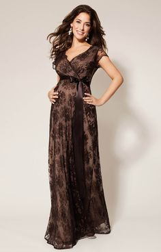 Eden Maternity Gown Long Chocolate by Tiffany Rose