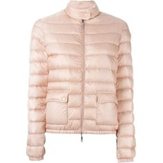 Moncler 'Lans' puffer jacket (49.430 RUB) ❤ liked on Polyvore featuring outerwear, jackets, moncler jacket, pink quilted jacket, fitted jacket, quilted puffer jacket and puffer jacket