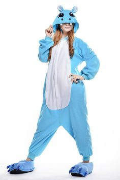 Cartoon Hippopotamus Animal Cosply Homewear Sleepwear Jumpsuit Costume Sleepwear #Unbranded #Sleepwear