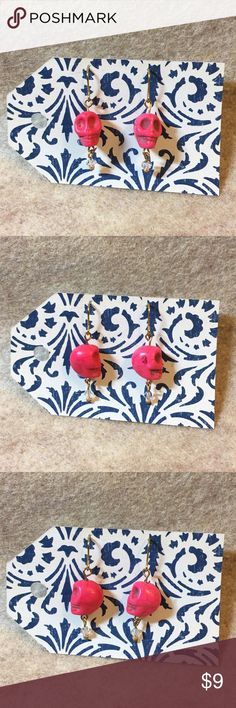 Pink Skull Earrings Handmade pink skull earrings. Mess just a little over 1.5 inches. Handmade Jewelry Earrings