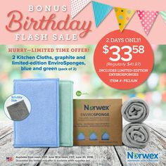 Norwex Flash Sale happening now!!!  2 EnviroSponges and 2 Kitchen Cloths for only $33.58!!!  That's 20% off!!  These are great for cleaning your kitchen without toxic chemicals - water is all you need to remove up to 99% of bacteria when following proper care and usage procedures.